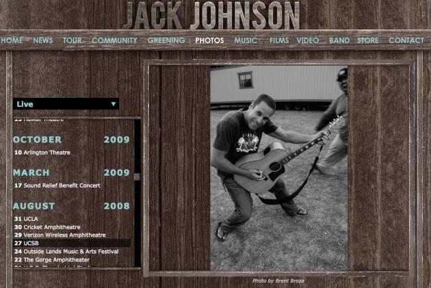 August 2008 - Jack Johnson image for his En Concert album booklet