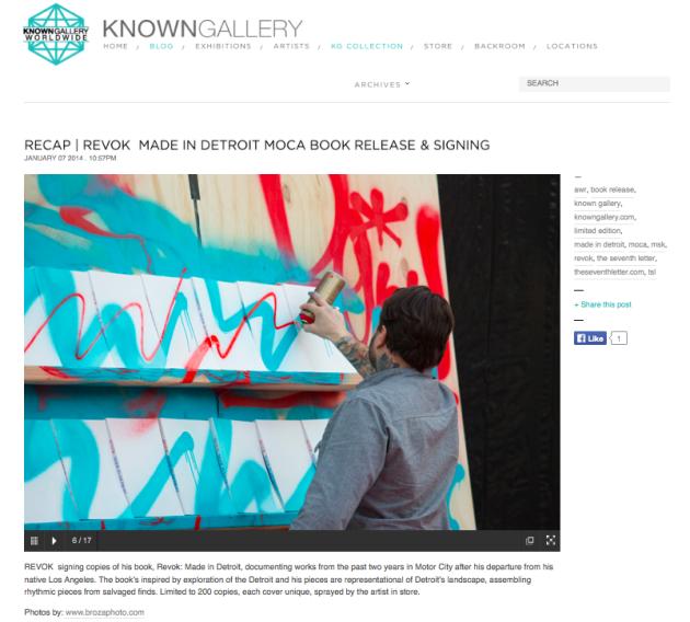 "January 4, 2014 - REVOK ""Made in Detroit"" Book Signing at MOCA"
