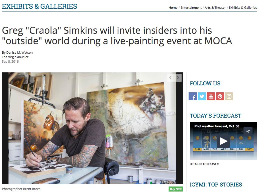 September 8, 2016 - The Virginian Pilot - CRAOLA live painting at MOCA