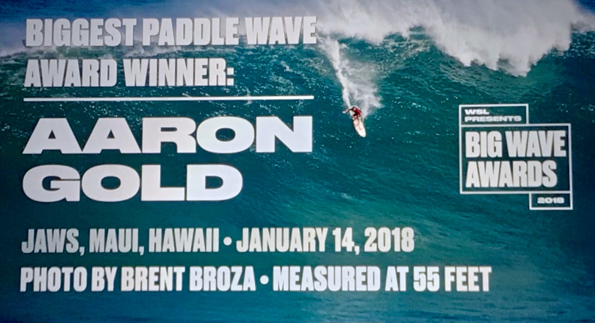 "April 28, 2018 - WSL Big Wave Awards - Winning photo for the ""Biggest Paddle Wave"" Award of Aaron Gold measured at 55 Feet - Jaws, Maui, Hawaii. Photo shot on January 14, 2018"