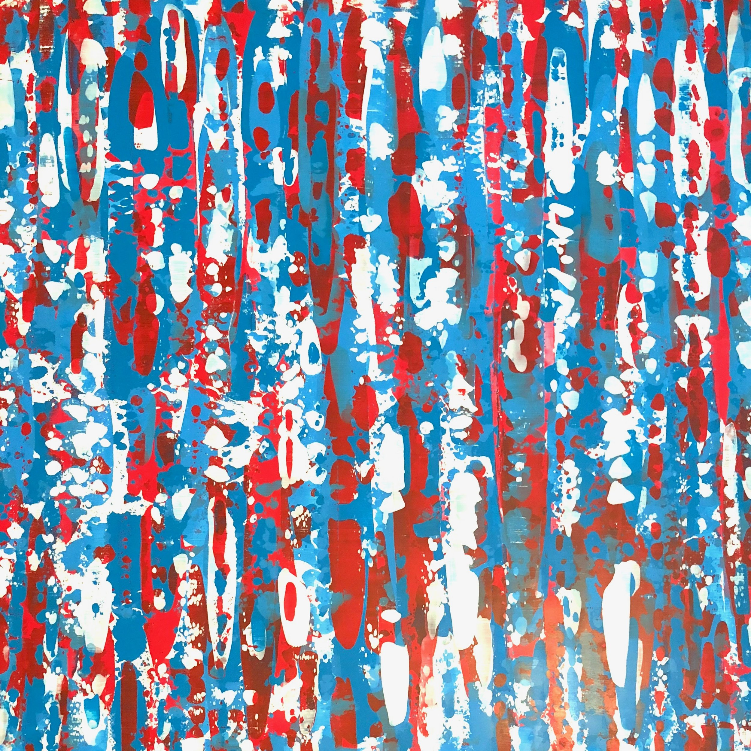 RED, WHITE & BLUE - 37X37 ACRYLIC ON A WOOD BIRCH PANEL WITH A WHITE FLOATER FRAME. (INQUIRE FOR PRICING AND AVAILABILITY)