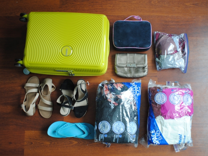 organized suitcase contents