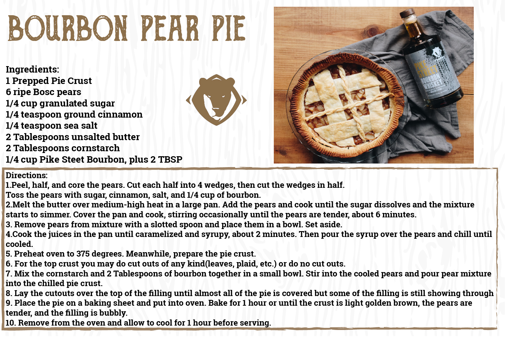 Bourbon Pear Pie