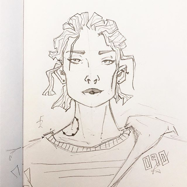 "Daily drawing 90 and 63/100 of #the100dayproject. A little sketch for a concept of a new character. I've been reevaluating my 100 Day Project over the past couple of days and I think it might be time to switch things up a bit. ⠀ ⠀ Historically, I've never done well with prompts/guidelines on my artwork. Every time they're introduced, I can do them for a while before I ultimately crumble and start feeling held back by them. This has started to happen with my 100 Day Project. As much as I love drawing my characters, feeling so /required/ to draw them is making it a lot less enjoyable. As such, I'm changing the meaning of my hashtag #100daysofwoiocs to mean ""worldofimmensum original concepts"" as opposed to ""worldofimmensum original characters"". For the most part, this will still be related to my comic Gray Zones, but it gives me a little bit more freedom. I'm hoping this will help with a little bit of the block I've been feeling.⠀"