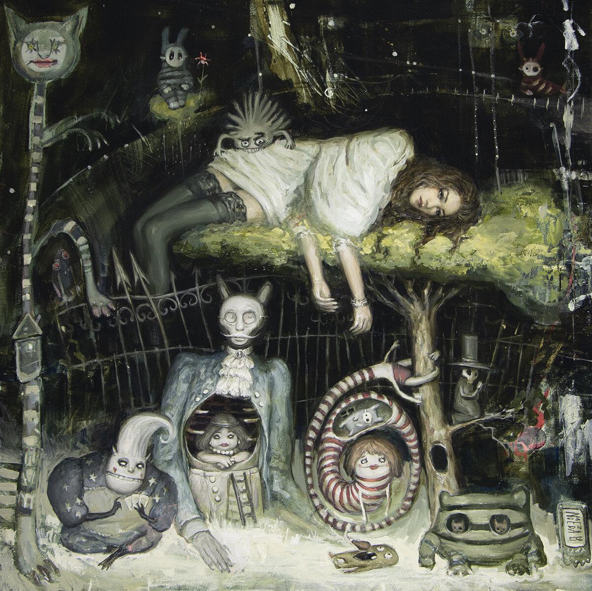 """Under My Sleeping Tree {30"""" x 30"""", oil on panel, 2019}  Modern Eden"""