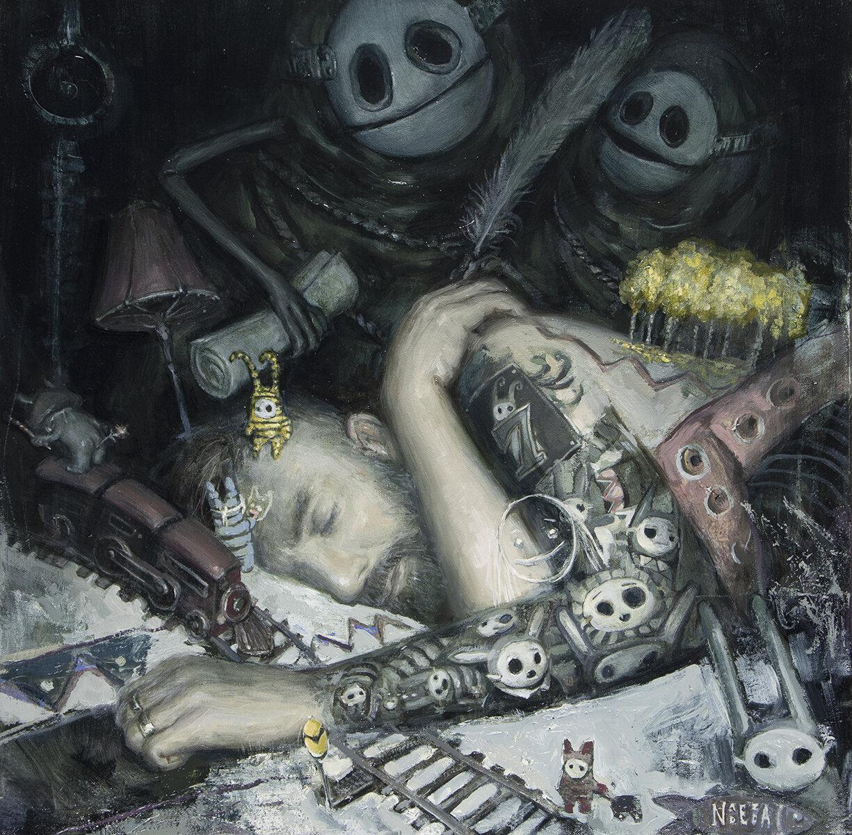 """While Asleep { 20"""" x 20"""", oil on canvas, 2019}"""