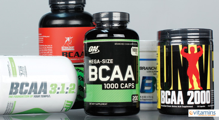 A collection of BCAA fitness supplement brands