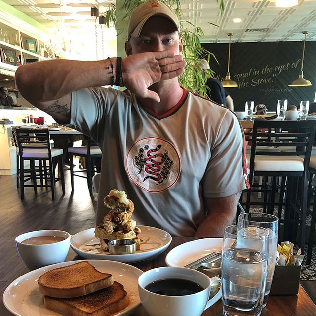 Fave cheat has to be chicken and waffles. What do you guys go for when its time to crush some calories?  #HappyPlace