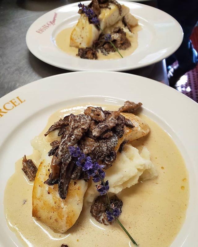Wild Halibut with Morel mushrooms, beurre blanc and purée of potatoes. • • #specials #wildhalibut #morelmushrooms #blbrasserie #freshingredients