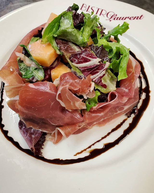 Melon and prosciutto salad is the perfect choice for lunch today! • • #blbrasserie #lunch #special #hotday #pasorobles #weather