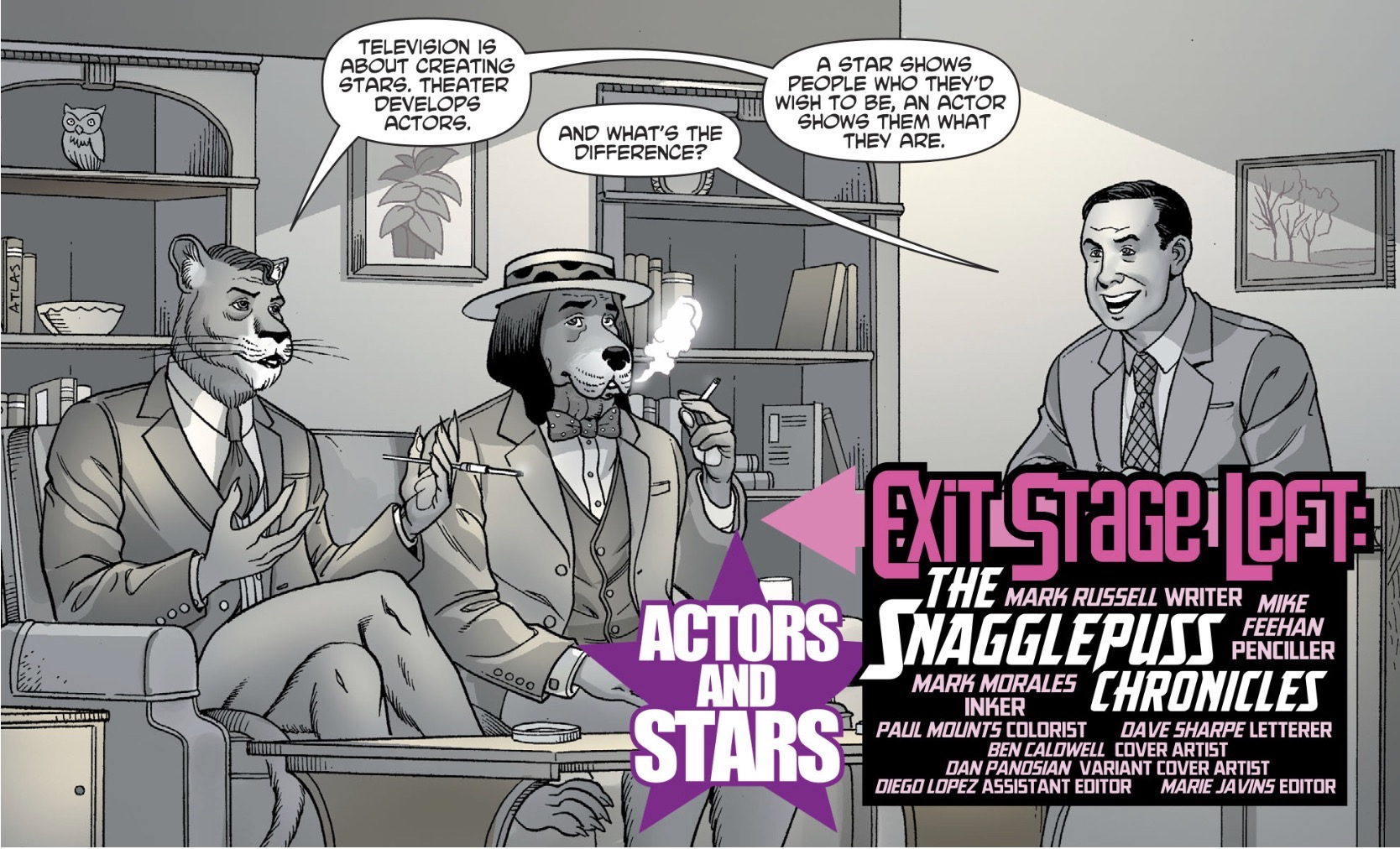 Exit Stage Left: The Snagglepuss Chronicles  #3 by Mark Russell, Mike Feehan, Mark Morales, and Paul Mounts