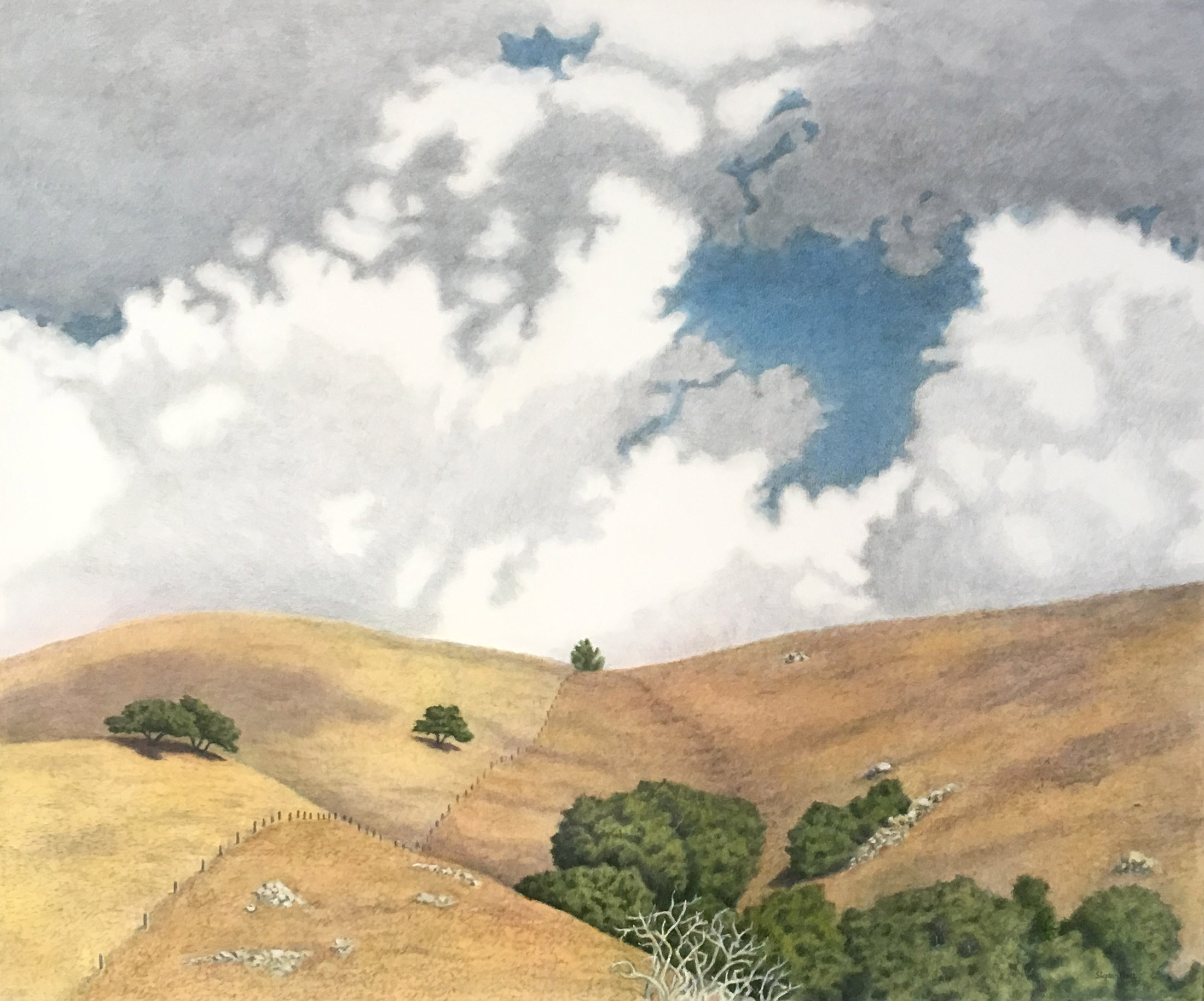 """After The Storm, graphite and polymer glazes on canvas, 60"""" x 72'"""" $7,000 Available to view at Sausalito location"""
