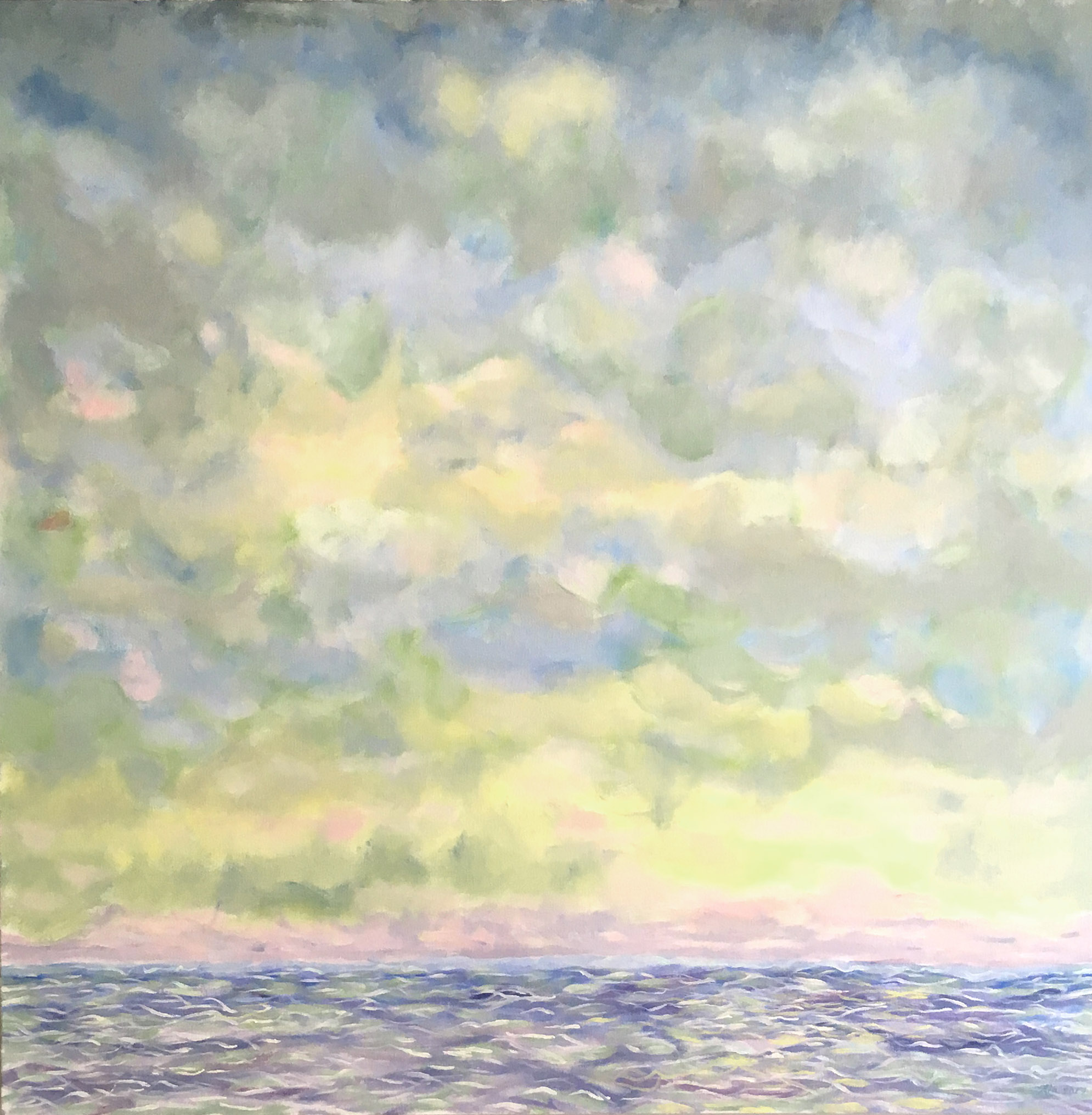 """La Lumière qui Brille, oil on canvas, 36"""" x 36"""" $2,100 Available to view at Sausalito location"""