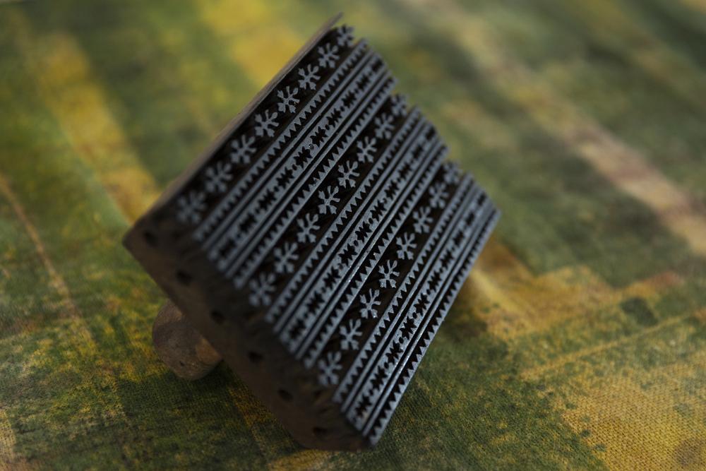 - Hand carved wood blocks for printing in Bagru village