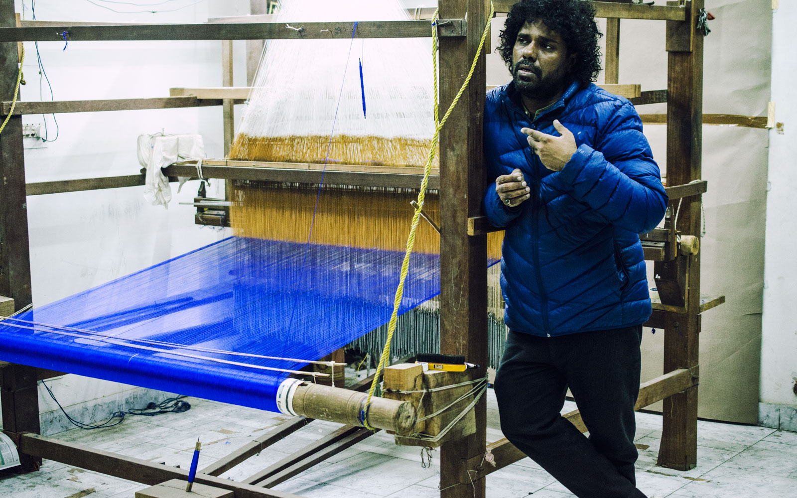 Designer maker Gaurav Jai Gupta with his traditional loom.