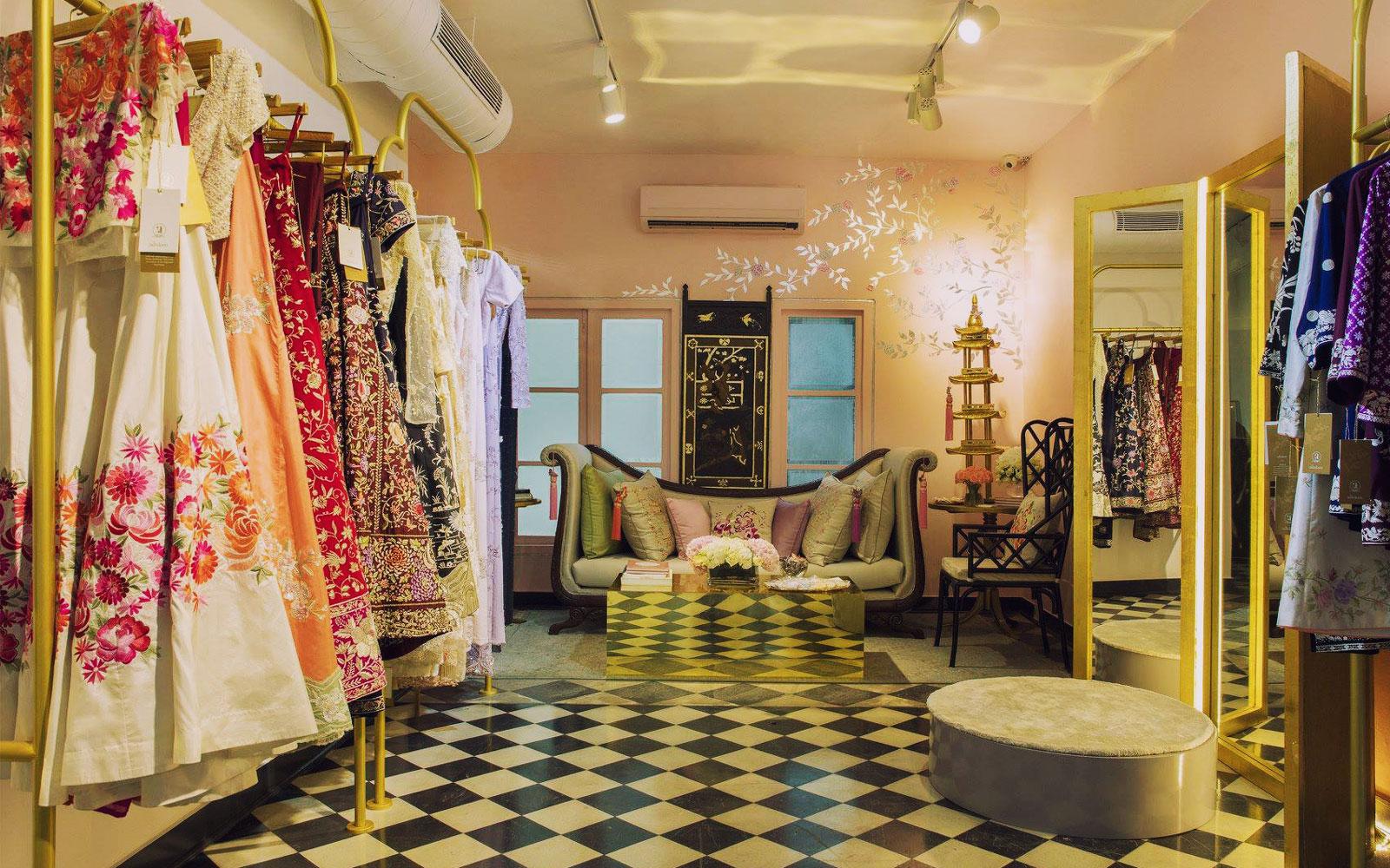 Tea, Parsi hospitality and Zoroastrian embroidery work at Ashdeen Lilaowala's design studio.