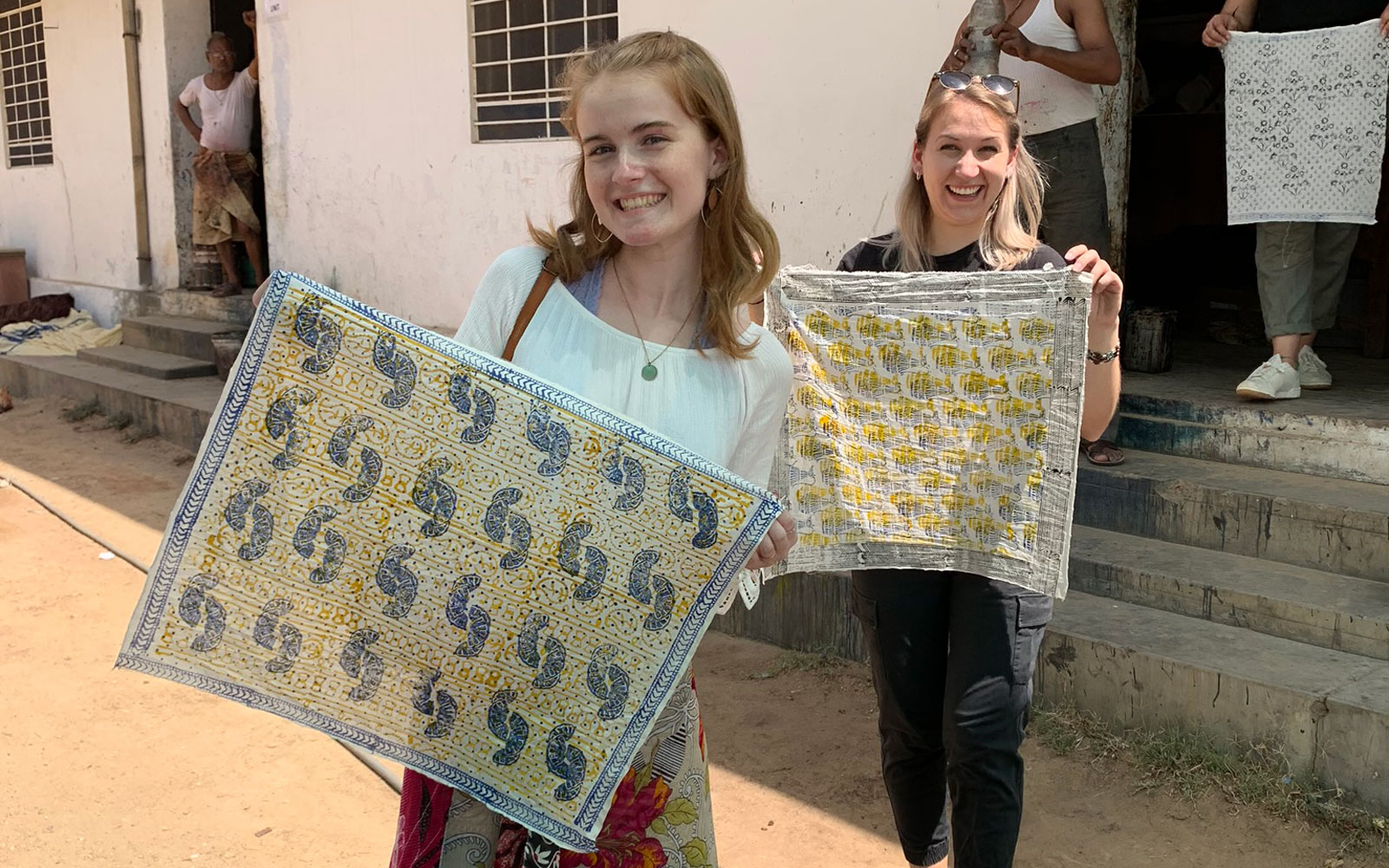 Spring 2019 Apprentice Programme participants pose with their own hand block print creations