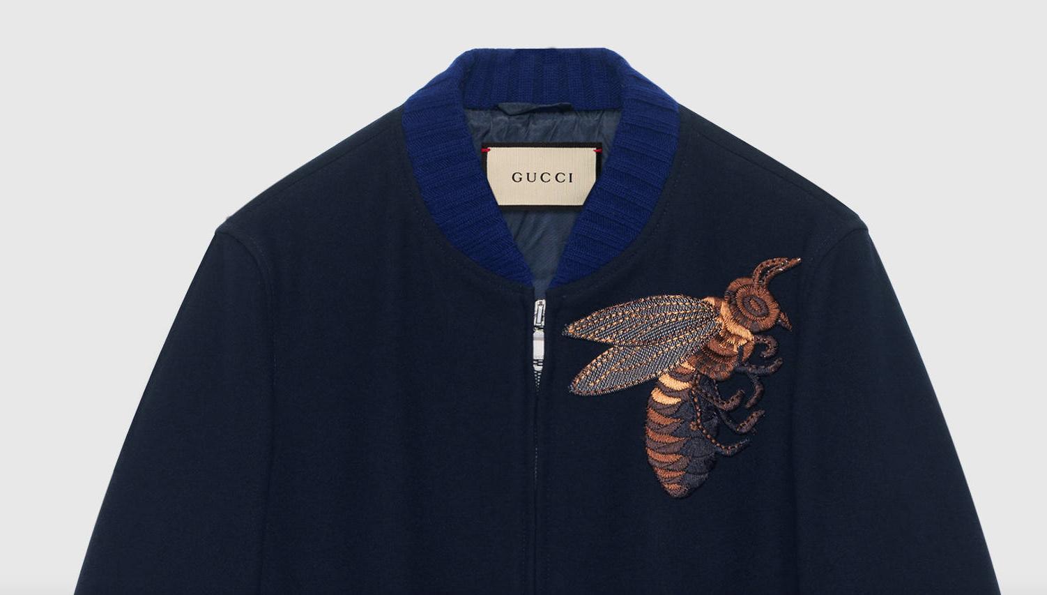 Gucci Men woolen jacket with bee applique