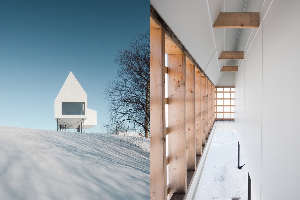 HIGH HOUSE  Hovering above a Quebec hillside, the High House uses a foundation of stilts to adapt to its snowy terrain. The gabled structure is elevated off the ground to protect the first level from the frigid elements, while also creating a protected outdoor area. Its clean lines are clad in a white concrete paneling and a corrugated steel roof to blend into the winter landscape, but also creates a striking contrast with its green backdrop in the summer months. The raised design also lifts the focus above the surrounding tree line, allowing for views of the Mont Saint Anne from the main living area.