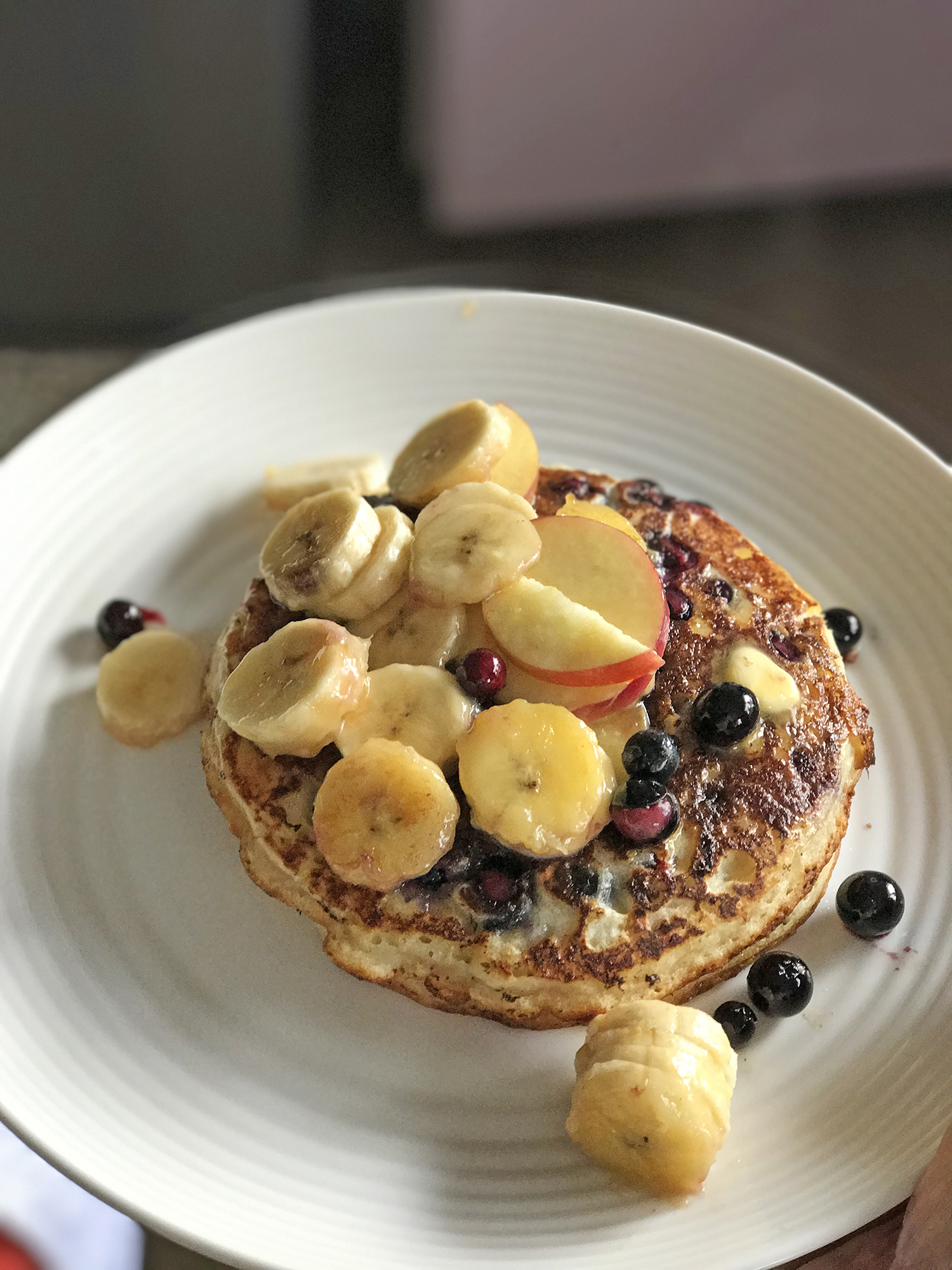 Pancake Mix  Whip it and fill it up with bananas, blueberries, flaked almonds. The fruits stop me from going over-board with the maple syrup though I should seriously stop having bacon on the side. Fast and easy breakfasts..