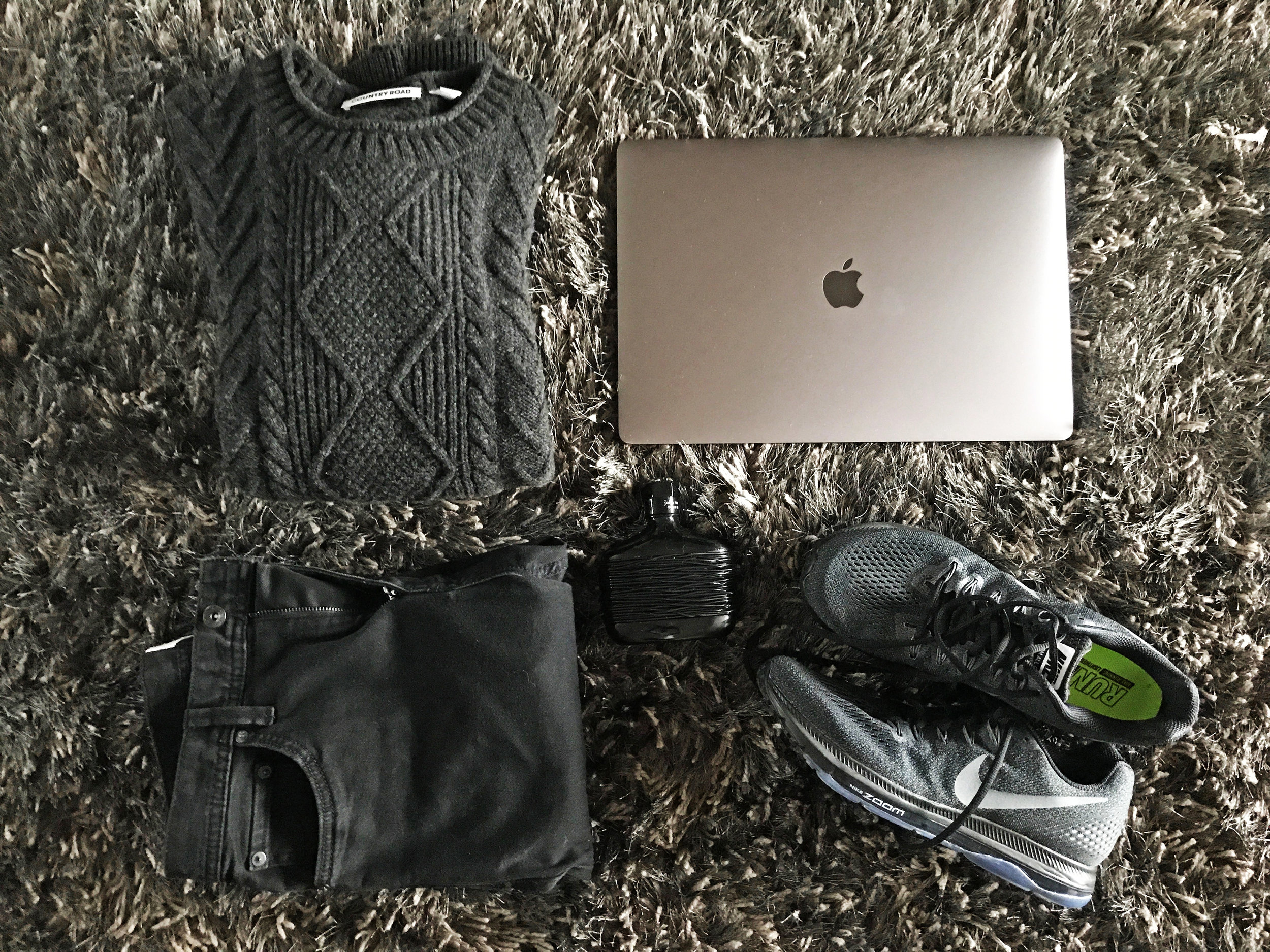 Country Road  Wool Cable Knit Crew in black; the new  MacBook Pro  15-inch (space grey which is almost black in person lol) with Touch Bar & Touch ID;  Nike Zoom All Out Low  in black/anthracite;  John Varvatos Dark Rebel  cologne;   Country Road  Slim Tapered Black Jean;  Kmart shag-carpet  in black and silver.