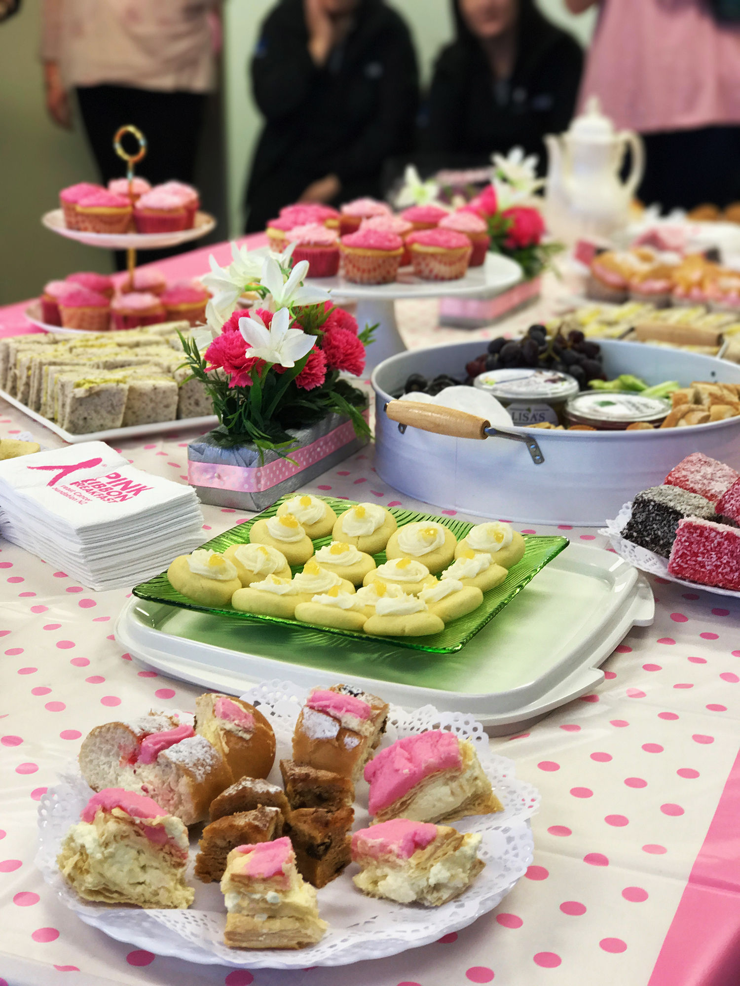 Last month's Pink Ribbon breakfast at the office that put the spotlight on the fight against breast cancer and of celebrating the tradition of high tea/breakfast with all manner of sugary treats #ironic