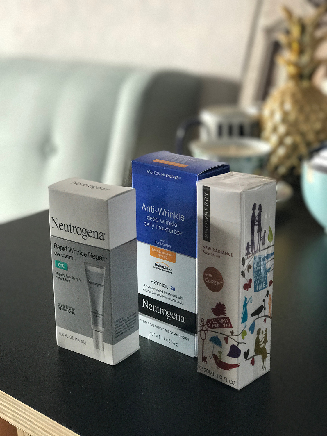 I vary the products I use depending on what I think is happening with my skin. I'm currently using drug-store stuff like Neutrogena's Retinol treatment range; a serum from New Zealand company Snowberry. I've also been doing the Korean skin-regimen of 'layering' various creams so after the serum, I put on a night-cream (varies depending on what's on sale) and finally a facial oil (Midnight Recovery Concentrate by Khiels).