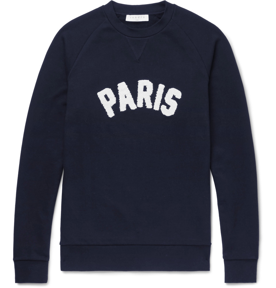 SANDRO Terry appliquéd Loopback cotton-jersey sweatshirt NZD$ 297