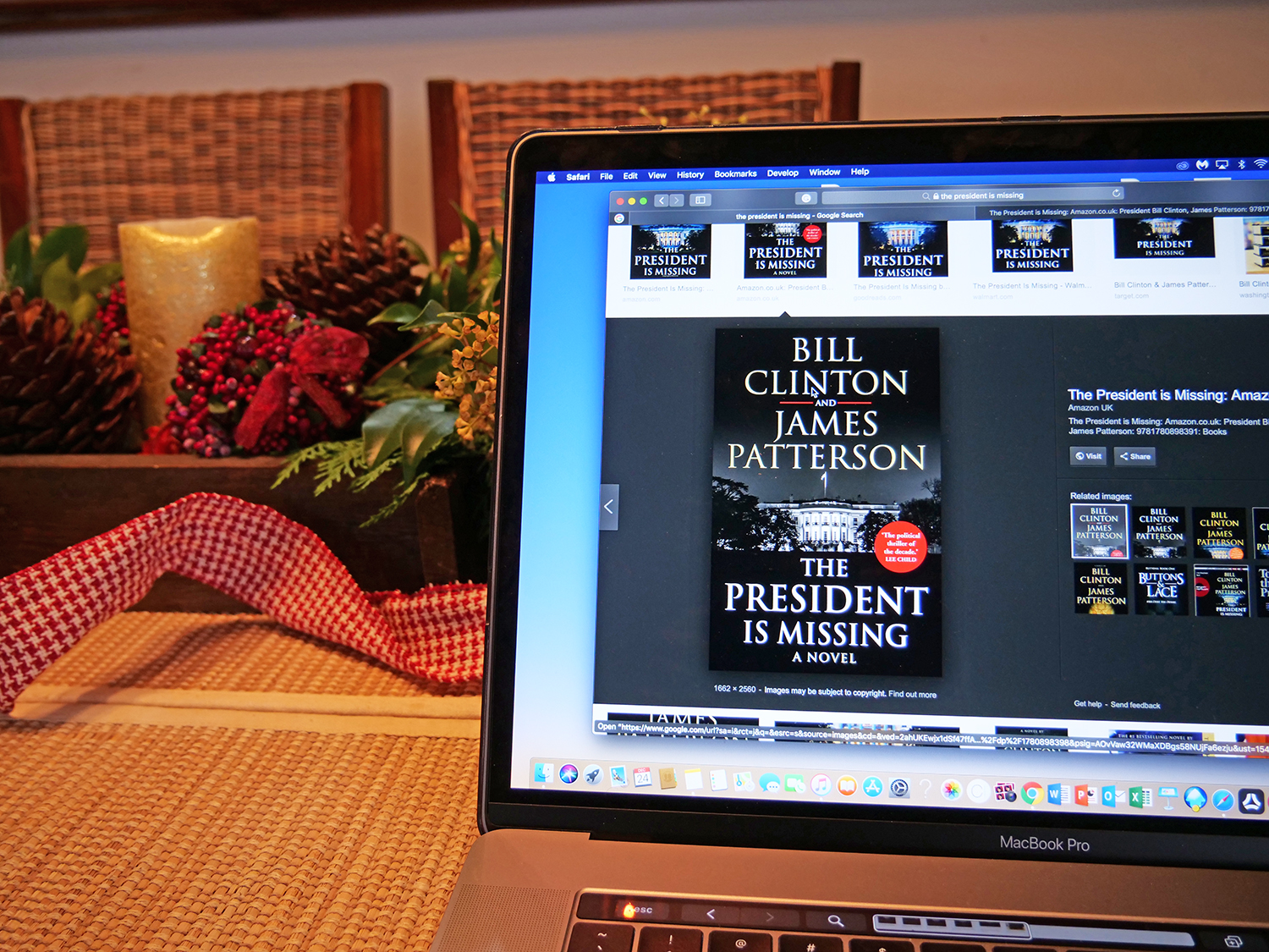 THE PRESIDENT IS MISSING , by Bill Clinton and James Patterson. I remember one Christmas break when I read The Prince of Tides by Pat Conroy and it affected me so deeply that I was in some weird funk for weeks. So never again, and this time, something you'd read with a popcorn in hand. I think this is the first novel of James Patterson's that I've read- everything else I've probably watched as a movie. This is the kind of fiction that has brought this man over $750 million.