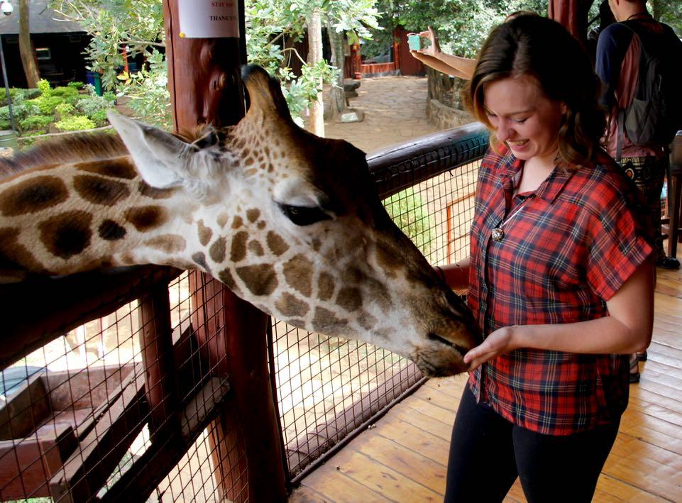 At the Giraffe Centre in Nairobi
