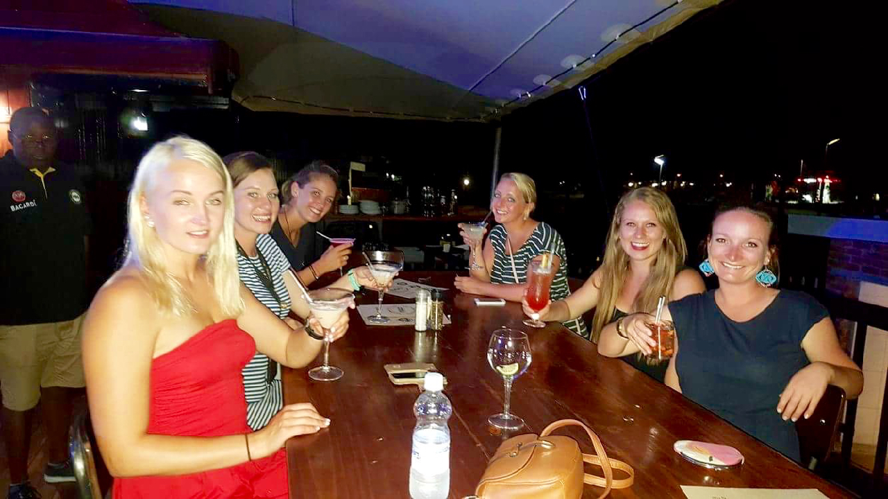 Cocktails with the ladies at The Three Monkeys
