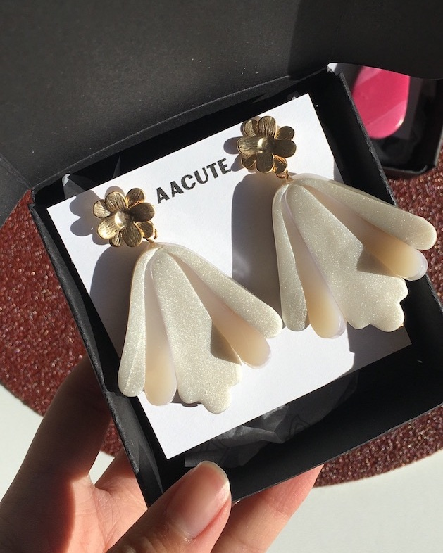 'I have just received my flower art drops in pearlescent. I just wanted to say thank you very much, they are absolutely beautiful and I cannot wait to wear them out' - - Renee (United States)