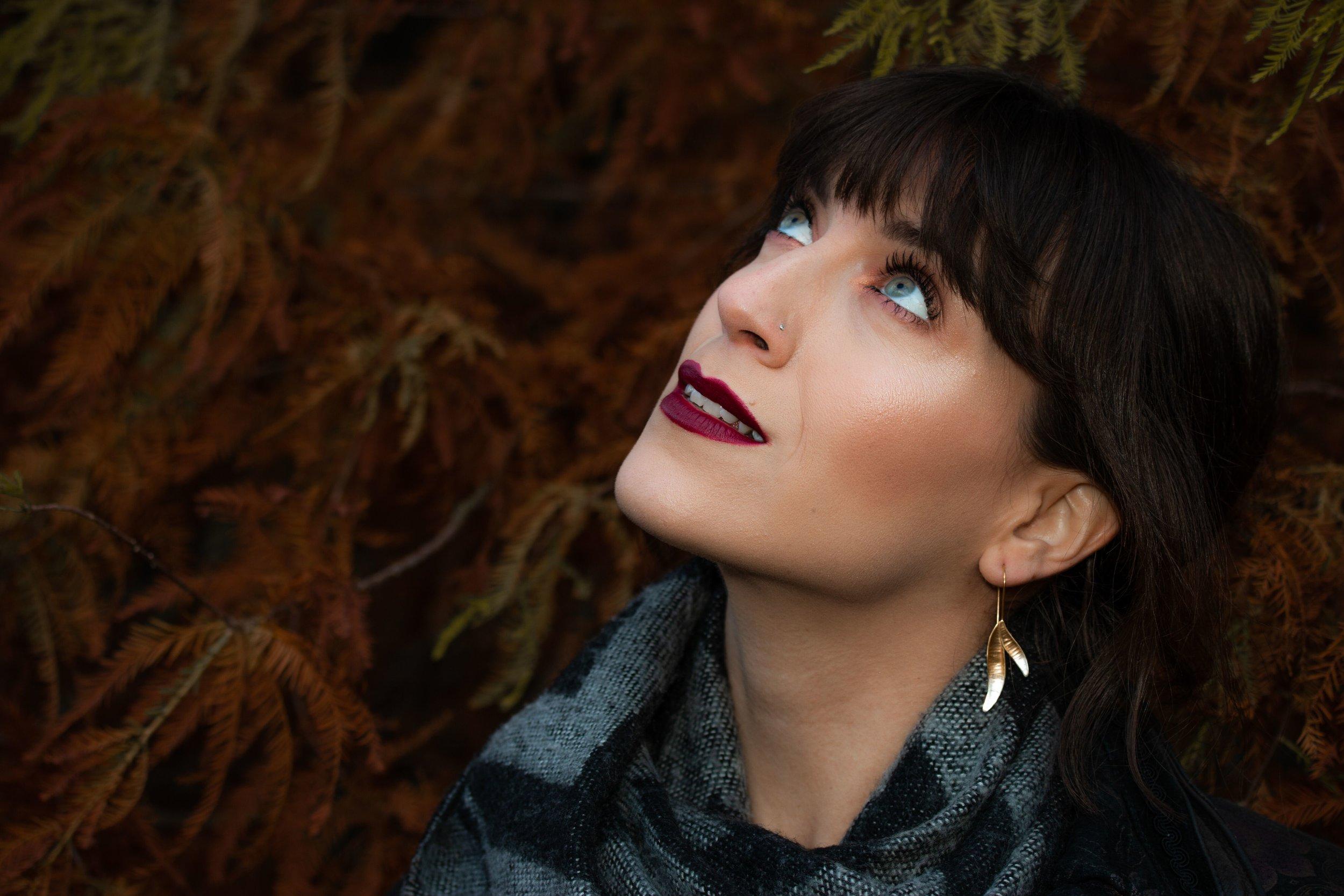Ombre Ash leaf earrings model photoshoot.jpeg