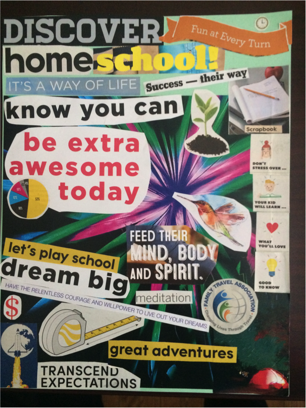 My vision board for our homeschool