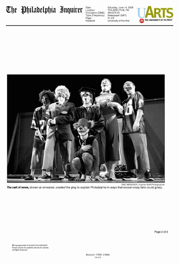 Cast photo in the Philadelphia Inquirer