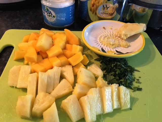 Preparing my pineapple and mango bake (with mint and ginger)