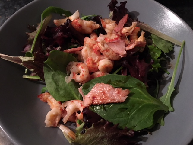 Salad with crayfish, bacon and coconut amino (aka fake soy sauce)