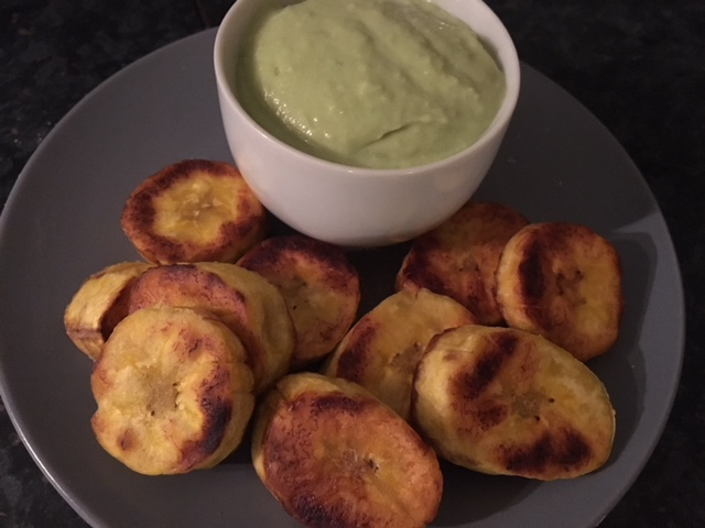 Plantain chips with avocado garlic mayo