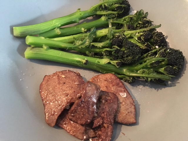 Chicken liver with purple sprouting broccoli