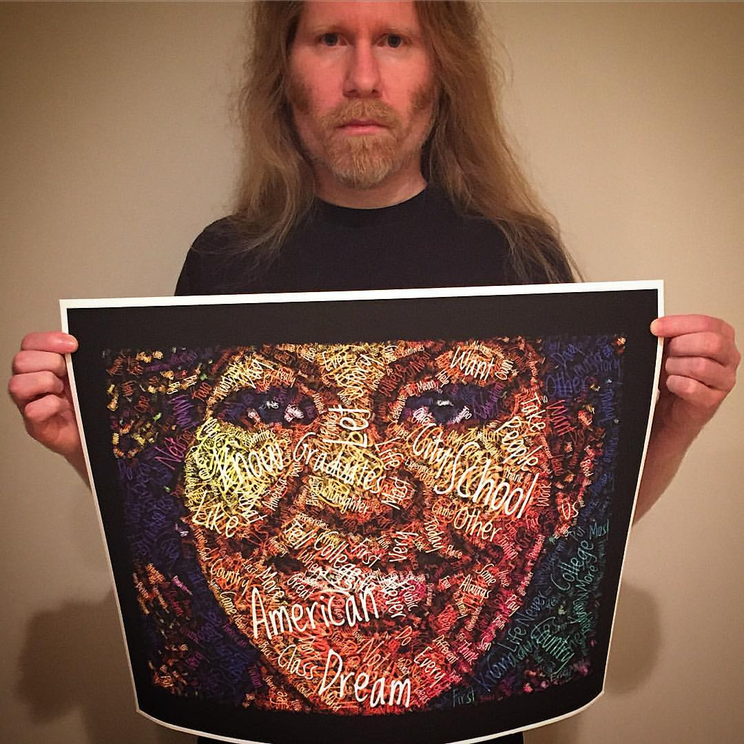 """""""When they go low, we go high."""" - Michelle Obama   Here's my earlier """"American Dream"""" portrait of Michelle Obama, which will be auctioned Aug. 6 in Washington DC by the National Association of Black Journalists to raise money for scholarships."""