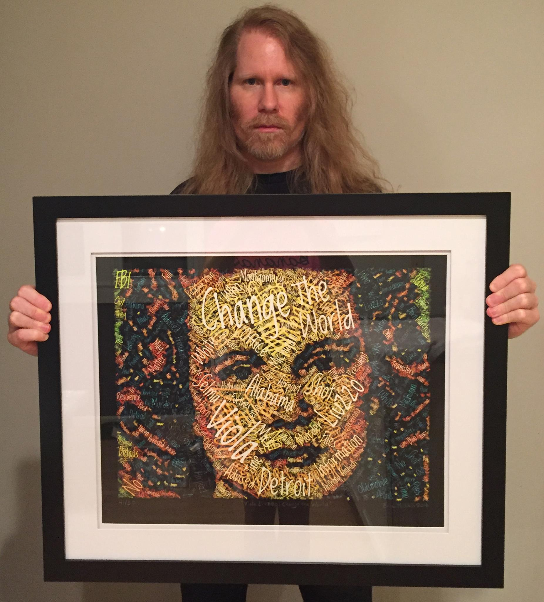 """One of my """"Viola Liuzzo: Change the World"""" portraits was auctioned to raise money for Global Ties Detroit, the Detroit non-profit arm of the Department of State, dedicated to world-wide diplomacy."""