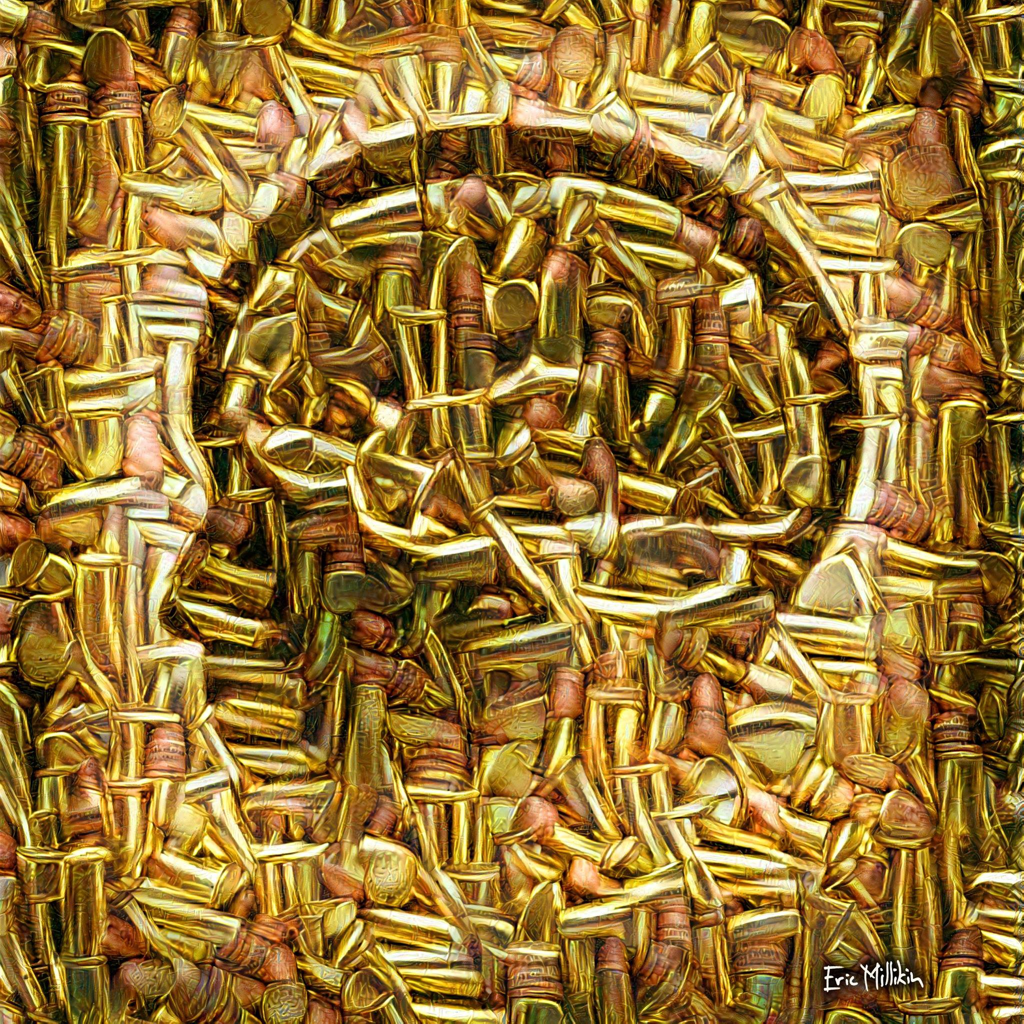 Portrait of the human mind made from melted bullets. Thinking about a lot of things while working on this, mostly what great things we could do if we used our brains more and our bullets less.   2017