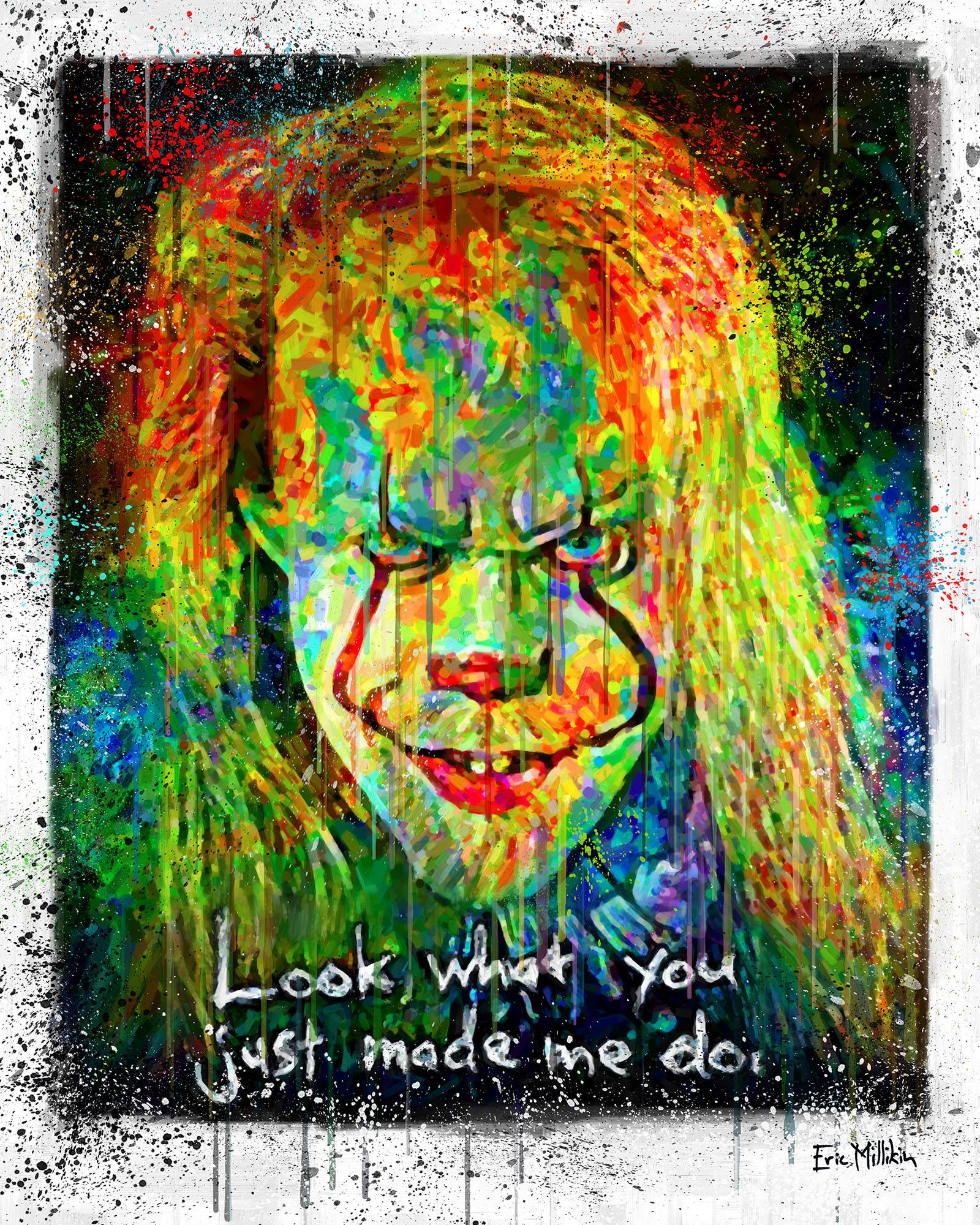 """""""Self-Portrait as Pennywise the Dancing Clown, with quote from a Taylor Swift song, in the colors of a hurricane weather map""""  2017"""