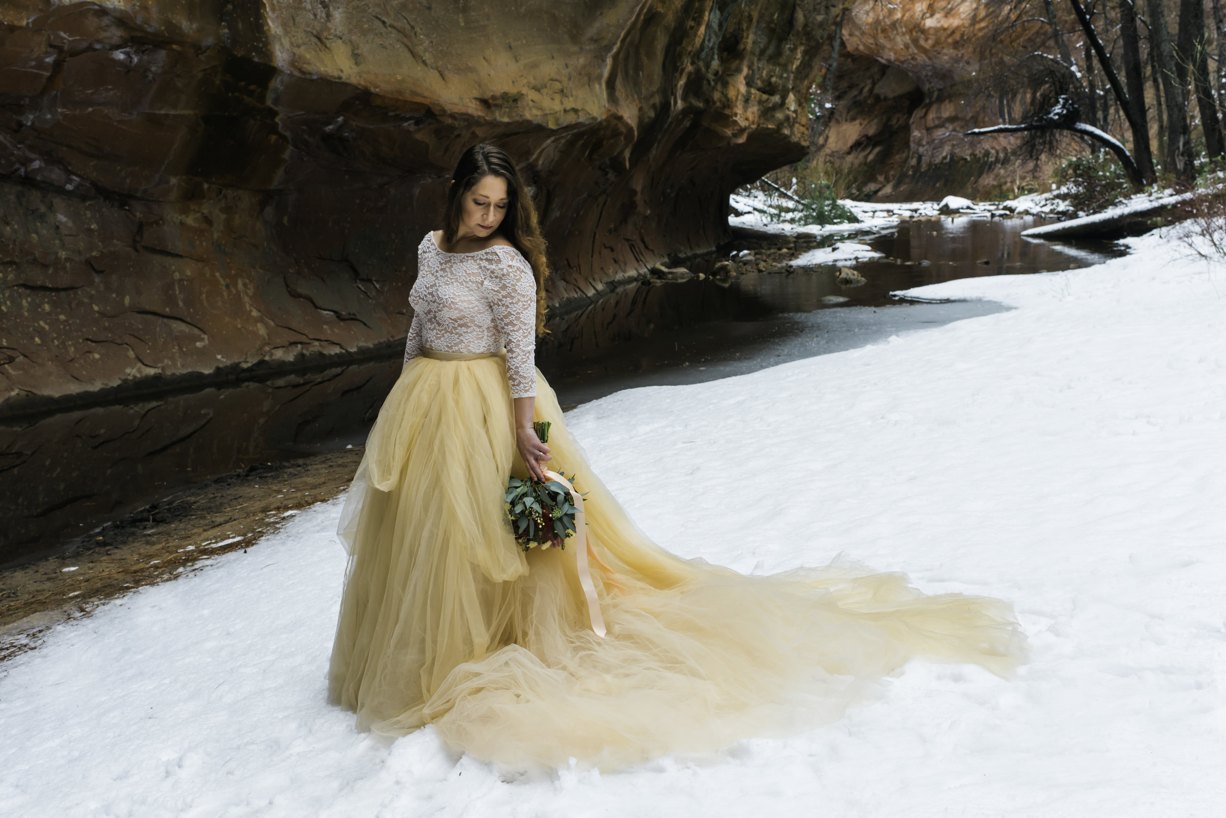 West Fork Trail Bridal Session - Bride is Wearing a Mr. Pretty Skirt