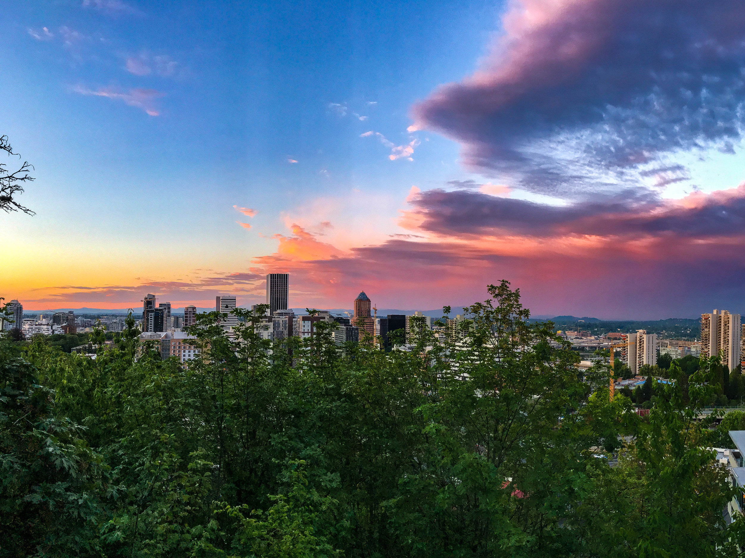 Sunset from our Airbnb in Portland