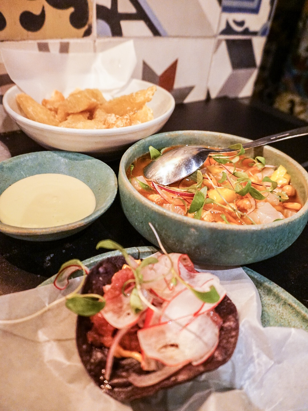 Yuca Fries, Ceviche, and Tostada at Llama