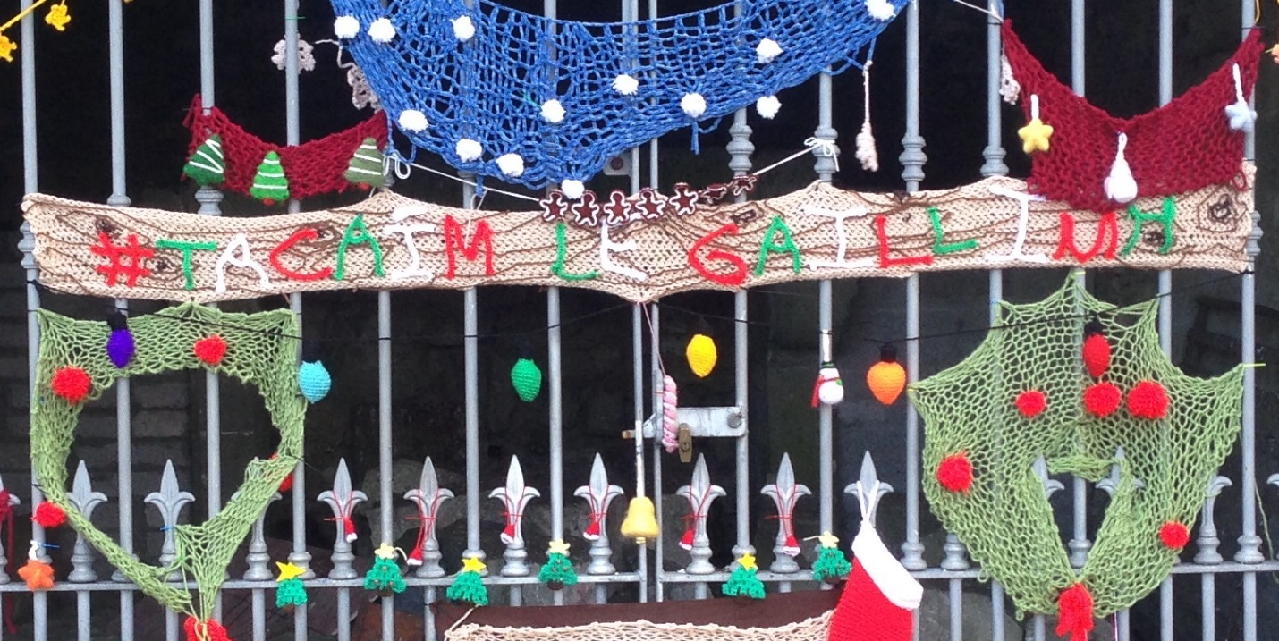 """""""#TacaimLeGaillimh"""" knit as the message of this most recent Yarnbomb translates from Irish to English as """"I back Galway"""" (as the European Capital of Culture for 2020)."""
