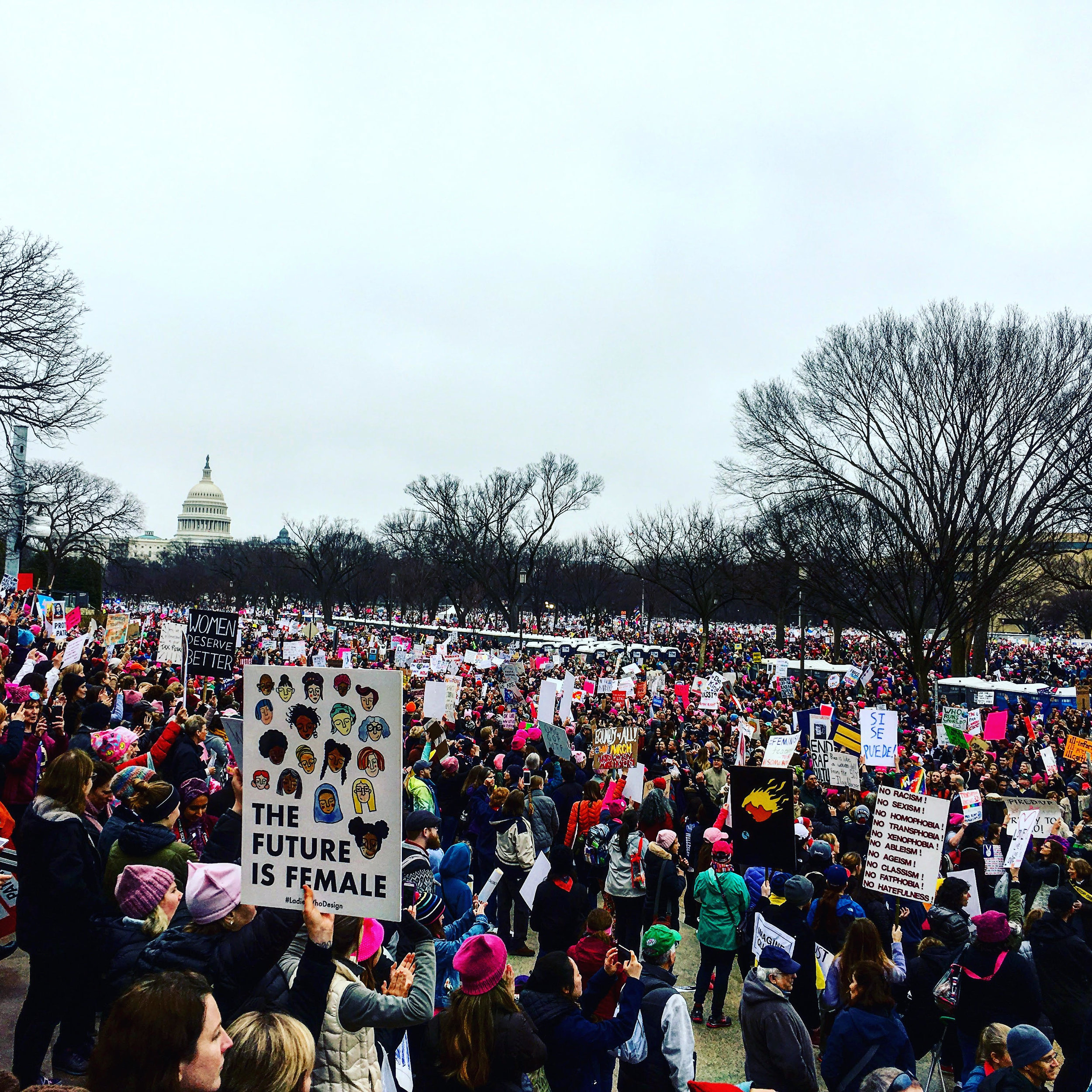 The scene at noon on Saturday. I intended to take it from the same spot as the previous day, however getting onto the actual Mall was impossible at this point. (Sheila Murray)