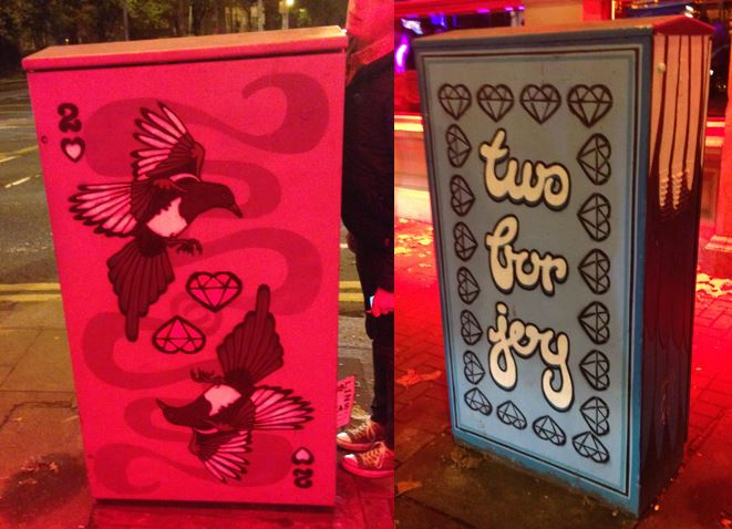 """Two for Joy"" by Sarah Grogan. Additional information about this piece can be found at  http://www.dublincanvas.com/sarah-grogan ."