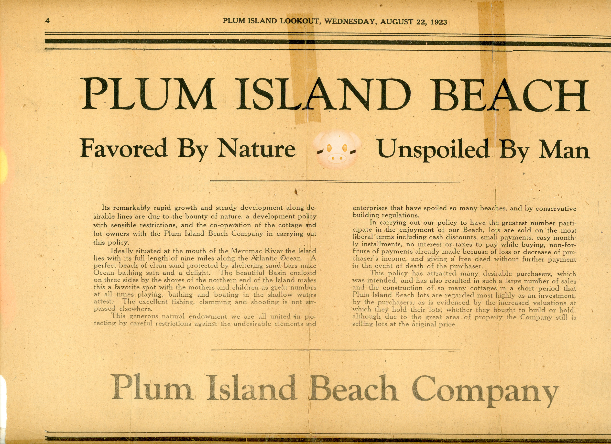"""""""Unspoiled by Man, Favored by Nature."""" Plum Island Lookout  23 August 1923: 1. Print."""